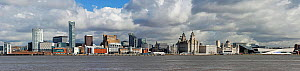 Liverpool waterfront panoramic view looking across the River Mersey from the the Wirral, Merseyside, UK April 2013.  -  Alan  Williams