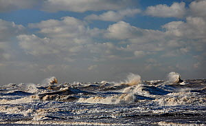 Stormy sea looking west across Liverpool Bay from New Brighton beach, Wirral Merseyside, UK, January.  -  Alan  Williams