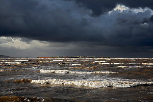 Hilbre Island viewed at high tide with gathering storm clouds from  Hilbre Point at the mouth of the Dee Estuary, Wirral, UK, January. - Alan  Williams