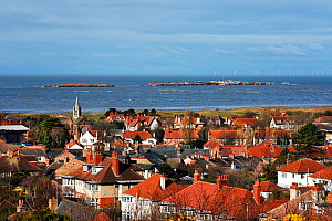 Hilbre Island and Little Hilbre,  Dee Estuary at high tide viewed across the rooftops of West Kirby, Wirral, UK, March 2016. - Alan  Williams