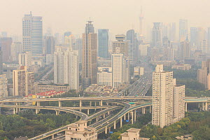 Shanghai air pollution and cityscape, China. October 2013.  -  Gerrit  Vyn