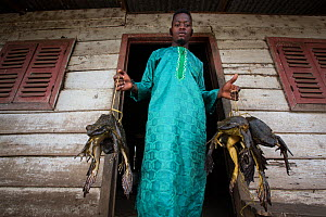 Low angle view of Cameroonian man with Goliath frog (Conraua goliath) bush meat, Cameroon. February 2015.  -  Cyril Ruoso