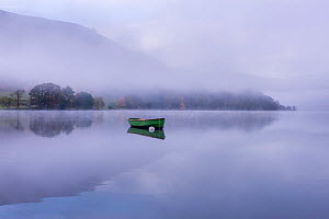 Rowing boat on Ullswater in early morning mist, Lake District, Cumbria, England, UK. November 2015.  -  Ross Hoddinott