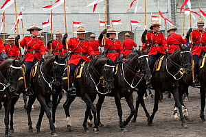 The Royal Canadian Mounted Police force parades, during the National American Police Equestrian Competition (NAPEC), at Kingston Penitentiary, Kingston, Ontario, Canada. September 2016.  -  Kristel  Richard