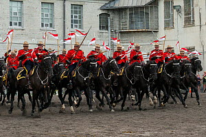 The Royal Canadian Mounted Police force charges, during the National American Police Equestrian Competition (NAPEC), at Kingston Penitentiary, Kingston, Ontario, Canada. September 2016.  -  Kristel  Richard