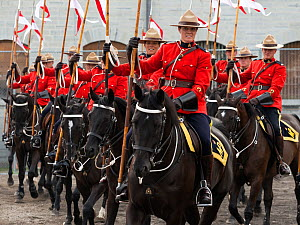 The Royal Canadian Mounted Police force parading, during the National American Police Equestrian Competition (NAPEC), at Kingston Penitentiary, Kingston, Ontario, Canada. September 2016.  -  Kristel  Richard
