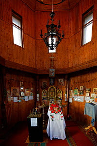 Interior of small church, Barentsburg, Isfjorden, Svalbard, Norway, July. - Pal Hermansen