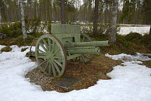 Old canon on display outdoors in snow, Museum Raatteetie, Finland  -  Loic  Poidevin