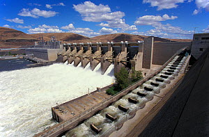 Lower Monumental Dam on the Snake River, Washington, USA. Dams on Northwest rivers are responsible for cheap power and near extinction of many wild salmon stocks. Note man-made fish ladder to the righ... - Brandon Cole