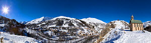 Stitch panorama of Valloire ski resort, Savoie in the French Alps. Maurienne Valley, France  -  Christophe Courteau
