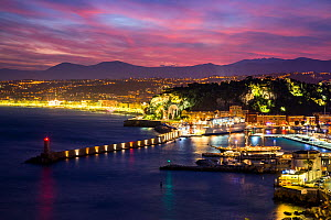 Water front of Villefranche-sur-mer harbour by night, Nice, French Riviera. France.  -  Christophe Courteau