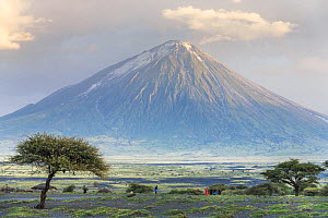 Ol Doinyo Lengai, an active volcano held in high esteem and known locally as The Mountain of God by the Masai, with people and huts on the savannah below, Rift Valley, Tanzania  -  Christophe Courteau