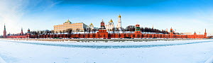 The Kremlin Palace along the Moscow river, frozen in winter,  Moscow, Russia, January 2016 Panoramic stitched of 27 images. - Christophe Courteau