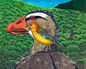 Illustration of extinct birds : Maui nui finch (Telespiza ypsilon) plucking feather down from a moulting Maui Nui Moa-nalo (Thambetochen chauliodous) for use as nesting material. Hawaii.  -  Julian Hume
