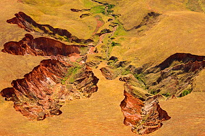 Aerial view of eroded hillsides caused by deforestation, central Madagascar.  -  Inaki  Relanzon