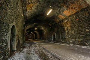 The Headstone Tunnel, 490m long, formerly part of the Buxton - Matlock railway line, now part of the Monsal Trail cycle route. Opened 2011. Peak District National Park, Derbyshire, UK  -  Chris Mattison