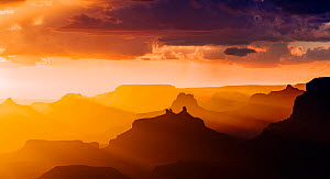 Lupan Point, looking west into sunset. Grand Canyon National Park, Arizona, USA, August.  -  Jack Dykinga