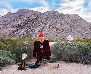 Effigy of US President Donald Trump in the El Camino del Diablo, Barry M. Goldwater bombing range, near the Arizona/Mexico border. This effigy or shrine has been placed in an area where illegal migran... - Jack Dykinga