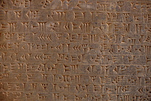 Ancient Assyrian cuneiform script in the library of the king's place at Nimrud, northern Iraq. Iraq. In 2014 Hatra was taken over by Islamic State militants and much of the site was destroyed in 2015.... - Kim Taylor