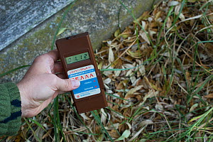 Geigercounter, used to meaure radiation in the Chernobyl Exclusion Zone, Ukraine September  -  Luke Massey