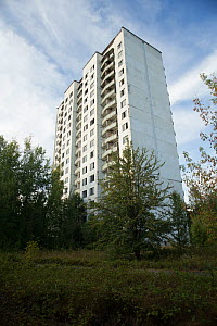 A tower block in Pripyat, Chernobyl Exlusion Zone, Ukraine September  -  Luke Massey