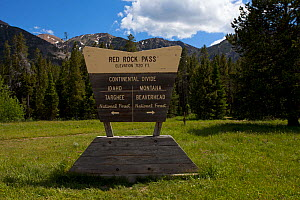 Sign for  Continental Divide at Red Rock Pass, Centennial Valley, Idaho, USA. June 2015  -  Mike Read