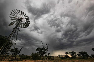Windmill under a gathering thunderstorm in the Kalahari Desert, South Africa. These traditional windmills are still used to raise groundwater for use in the home and to fill animal troughs. May 2011  -  Jen Guyton