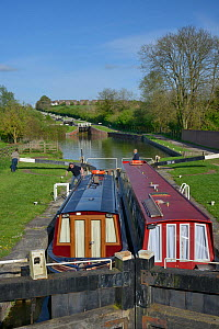 Narrow boats in a lock on the Kennet and Avon canal, Caen Hill, Devizes, Wiltshire, UK, April 2014. - Nick Upton