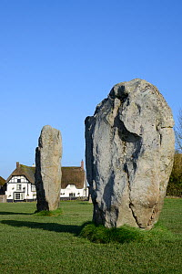 Neolithic megaliths and Red Lion Pub, Avebury Stone Circle, Wiltshire, UK, February 2014. - Nick Upton