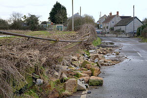 Road closed and collapsed stone wall caused by serious flooding after weeks of heavy rain, Long Lode, Somerset Levels, UK, February 2014. - Nick Upton