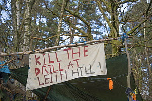 Kill the Drill at Leith Hill sign at Oil drilling and fracking protest camp, Leith Hill, Surrey, UK. March, 2017  -  Adrian Davies