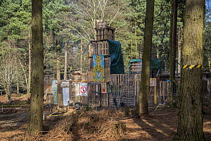 Oil drilling and fracking protest camp, Leith Hill, Surrey, UK. March, 2017  -  Adrian Davies