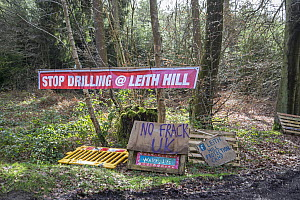 Stop Drilling at Leith Hill sign at Fracking Protest Camp, Leith Hill, Surrey, UK. March, 2017  -  Adrian Davies