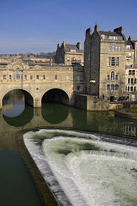 Pulteney bridge and weir, Bath, UK, March 2016. - Nick Upton