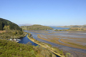 Overview of the Crinan canal and the Add river estuary flowing into Loch Crinan, Argyll, Scotland, UK, May 2016.  -  Nick Upton