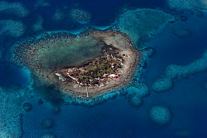 Aerial view of an inhabited coral cay inside the southern Belize barrier reef, off Placencia, Stann Creek District, Belize Barrier Reef Reserve System UNESCO Natural World Heritage Site, Belize, Centr...  -  Doug Perrine