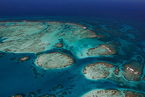 Aerial view of southern Belize barrier reef near Placencia, showing reef bend at Gladden Spit, Gladden Spit and Silk Cayes Marine Reserve. With two tour boats inside the reef, and three fishing boats...  -  Doug Perrine