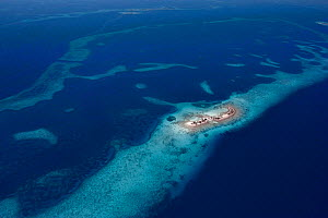 Aerial view of Laughing Bird Caye, a narrow sand caye, Laughing Bird Caye National Park, southern Belize barrier reef. Belize Barrier Reef Reserve System UNESCO Natural World Heritage Site, Central Am...  -  Doug Perrine