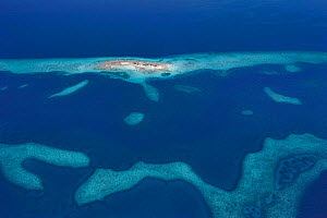 Aerial view of Laughing Bird Caye, a narrow sand caye (small island), in Laughing Bird Caye National Park. Belize Barrier Reef Reserve System UNESCO Natural World Heritage Site. Central America. Carib...  -  Doug Perrine