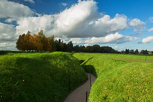 Remains of trenches from the First World War at Newfoundland Memorial Park on the Somme battlefield, Beaumont Hamel, Picardy, France, October 2014.  -  David Noton