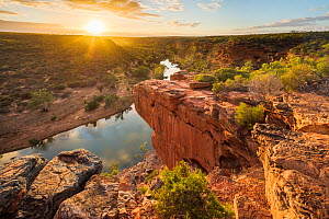 Hawk's Head lookout over the Murchison River gorge, Kalbarri National Park, Western Australia, December 2015.  -  David Noton