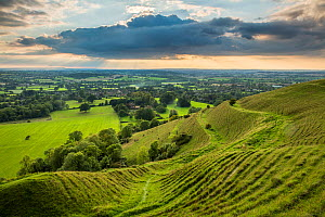 Ramparts of the prehistoric hill fort on Hambledon Hill above the Blackmore Vale, Dorset, England, UK, September 2015.  -  David Noton