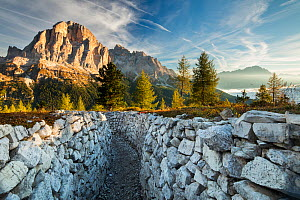 First light on Tofana de Rozes from the World War One trenches on Cinque Torri, Dolomite Mountains,  Belluno Province, Veneto, Italy, September 2015. - David Noton