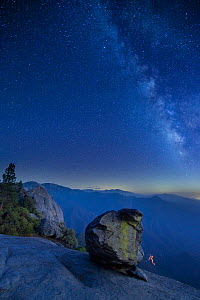 Milky Way over the Sierra Nevada from Hanging Rock, Sequoia National Park, California, USA, September 2014.  -  David Noton