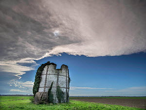RF - Ruins of old windmill,  Nampont, Somme, France, (This image may be licensed either as rights managed or royalty free.)  -  Pascal  Tordeux