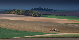 Tractor ploughing field, Pleine Selve, Picardy, France, October 2016.  -  Pascal  Tordeux