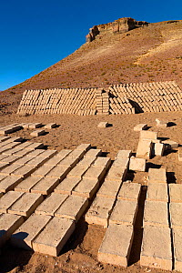 Adobe mud bricks drying and stacked ready for use. Bolivia, December 2016.  -  Mark Taylor