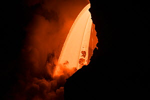 Hot lava from the 61G flow from Kilauea Volcano entering the ocean from the open end of a lava tube at the Kamokuna entry in Hawaii Volcanoes National Park, producing a great cloud of steam, Kalapana,... - Doug Perrine