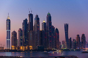 Dubai Marina skyline at twilight, Dubai, United Arab Emirates, November 2013. - Inaki  Relanzon