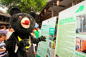 Person in a Moon bear costume showing display boards about bear bile farming at the Animals Asia Foundation Moon Bear Festival, China, September.  -  Inaki  Relanzon